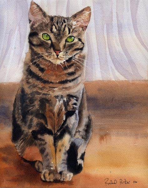 Sally's Tabby, cats in paintings, cats in art