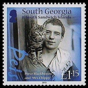 Mrs. Chippy, cats on stamps, famous cats, cat history