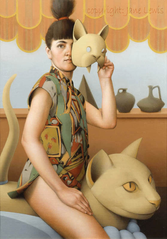 Jane Lewis, Cat Mask, cats in art