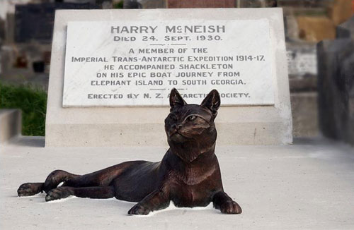 Henry McNeish's Grave with a statue of Mrs. Chippy on top, famous cats, famous cat lovers, Endurance, Ernest Shackelton