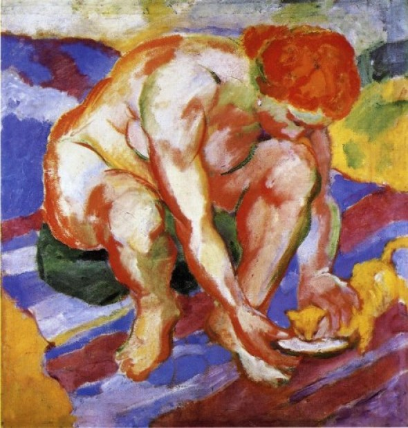 Franz Marc, Nude with a Cat, cats and women, cat art