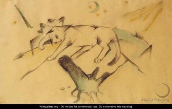 Franz Marc Kittens Lying Down, cat drawings