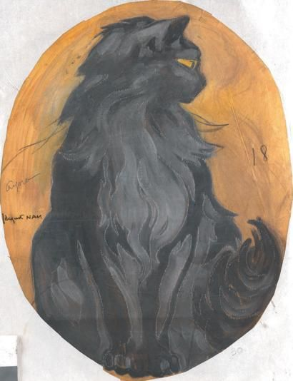 1930-Angora Cat in art