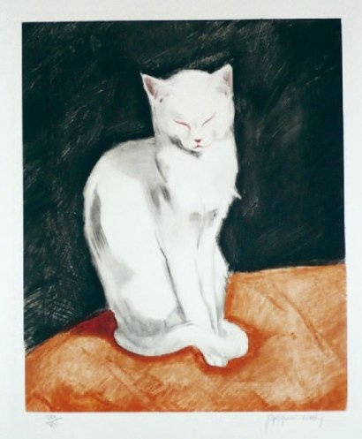 Contented White Cat, cats in art