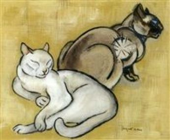 Deux chats couchés, two cats lying down, jl nam