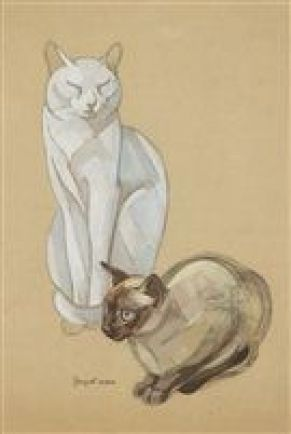 Two cats, JL Nam, cat drawings