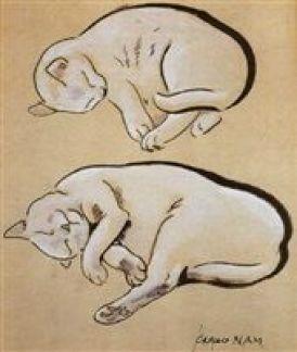 Etude de deux chatons blancs, cats in art, art cats