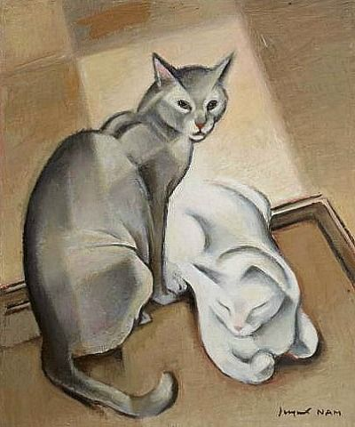 White and Grey cats, Jacques Nam, cat drawings, cat art