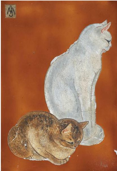 Two cats on wood