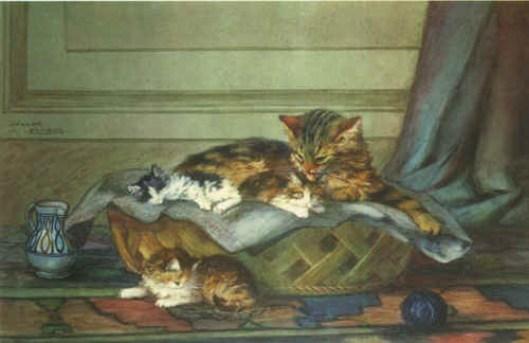 Cat and Kittens, Lehmann Nam, art cats