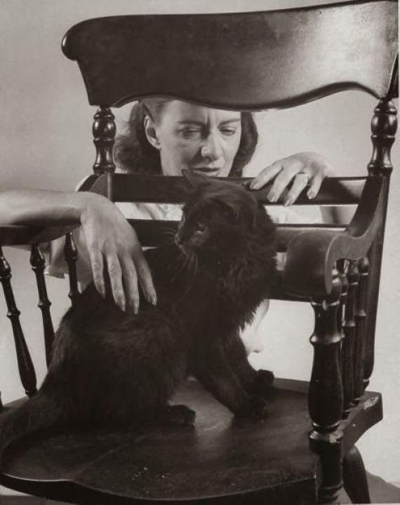Author Betty Smith with G. Mili's cat Blackie