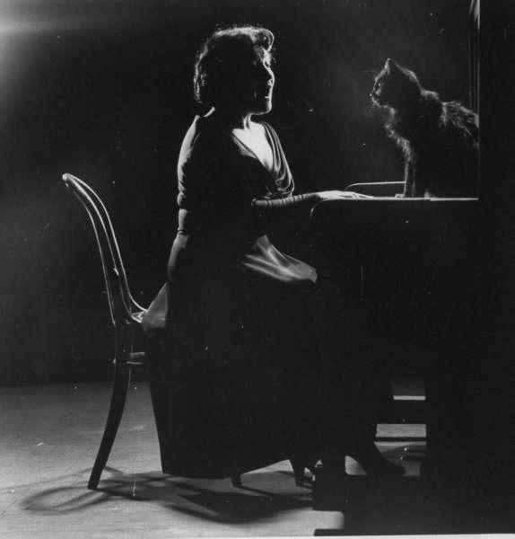 Blackie Sitting with Opera Singer Jennie Tourel, black cats