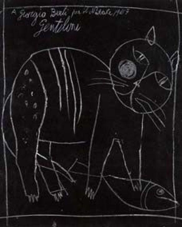 Franco-Gentilini-Italian-1909–1981-Gatto-Cat-1957-Pastel-on-card