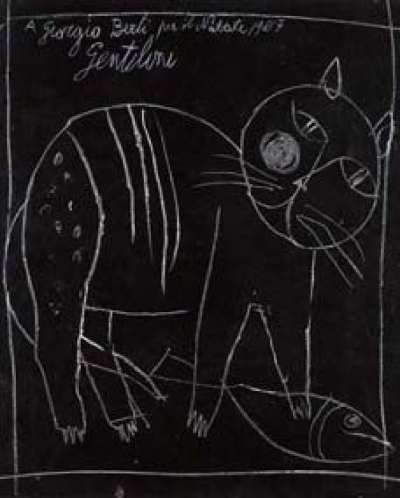 Franco-Gentilini-Italian-1909–1981-Gatto-Cat-1957-Pastel-on-card