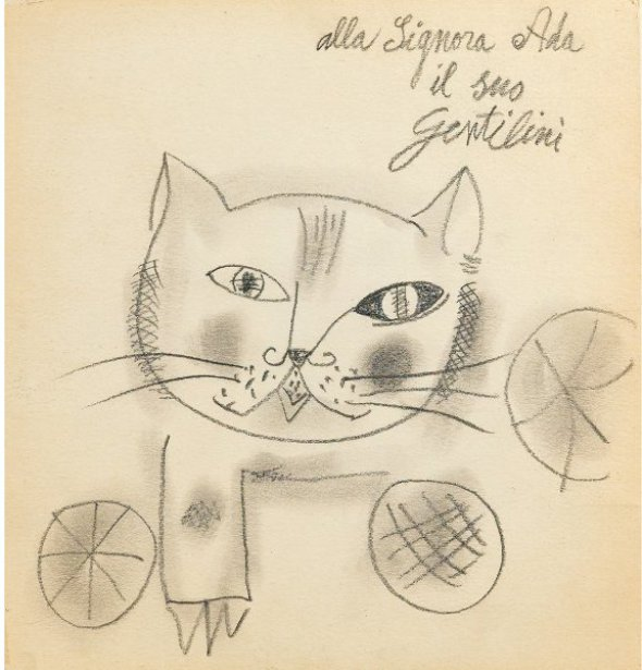 Franco Gentilini Cat drawing, cats in art, art cats, painted cats