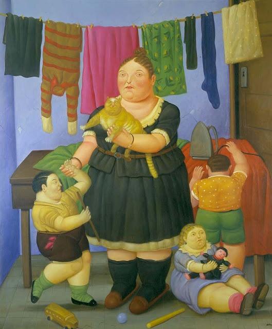 Fernando Botero, La Viuda The Widow, cat paintings