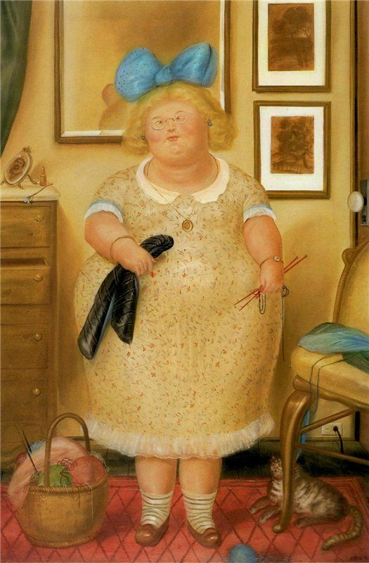 The Old Maid (and her cat) - Oil painting, 1974, F. Botero, cats in art