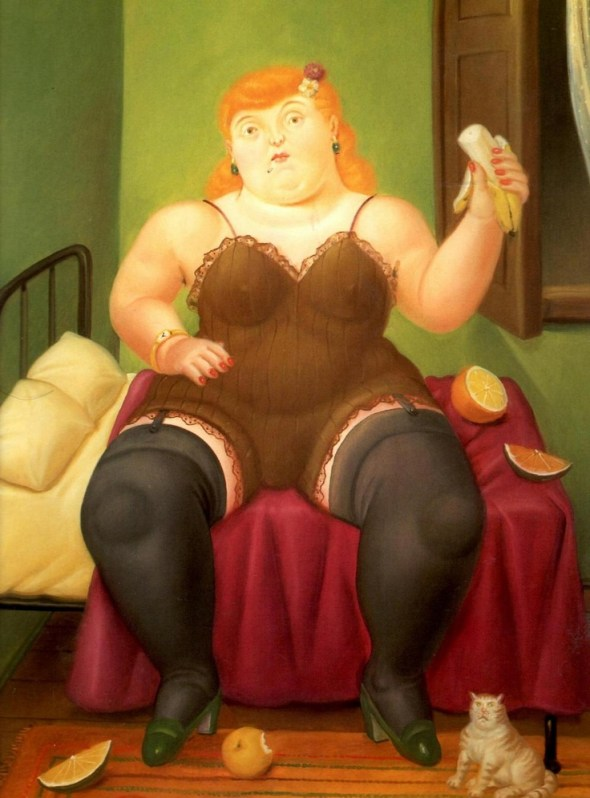 woman seated with cat, F. Botero