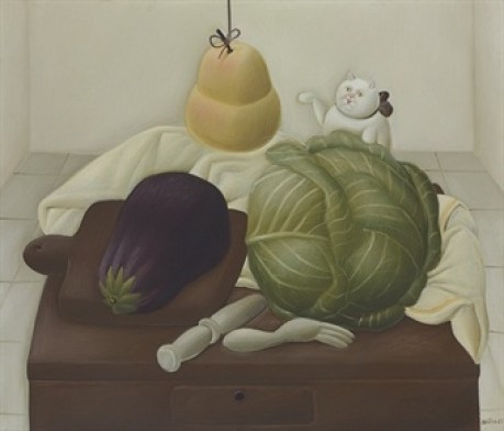 F. Botero homage to sanchez cotan, cat art