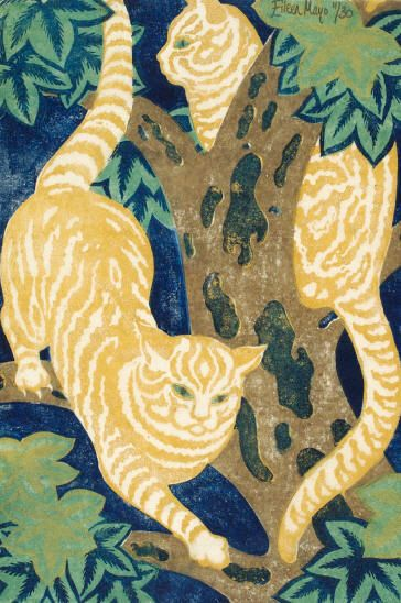 Cats in a Tree Linocut Eileen Mayo