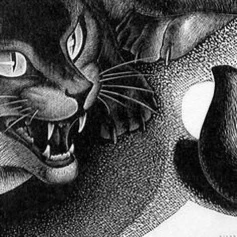 The Challenge Detail Agnes Miller Parker, black cats in art