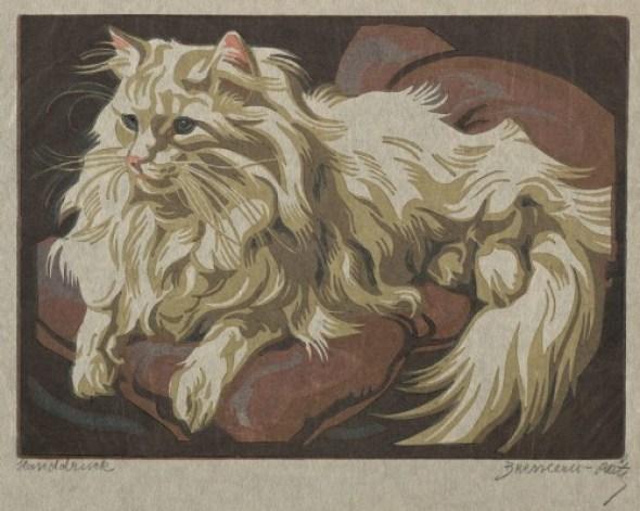Norbertine Bresslern-Roth, angora cats in linocuts
