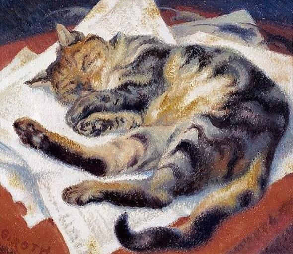 Norbertine Bresslern-Roth Dream of a Cat 1977, cats in art