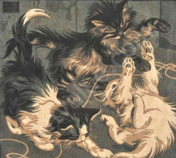 Norbertine Bresslern-Roth, kittens playing, linocuts of cats, art cats