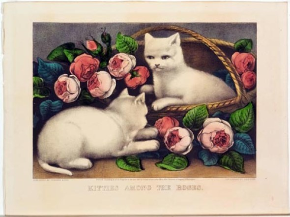 kitties among the roses Currier and Ives, cats in art