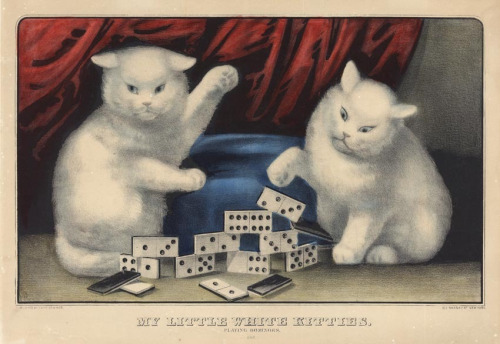 Currier and Ives kitties and dominoes, white cats