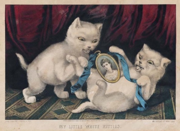 My little white kitties, Currier & Ives, cats in art