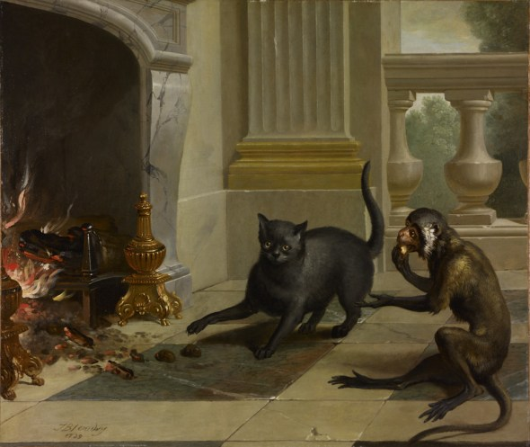 Jean Baptiste Oudry The Cat and the Monkey 1739 Brimingham Museum and Art Gallery