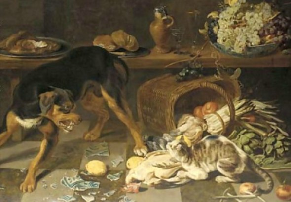 Dogs And Cats Fighting In A Kitchen Snyders