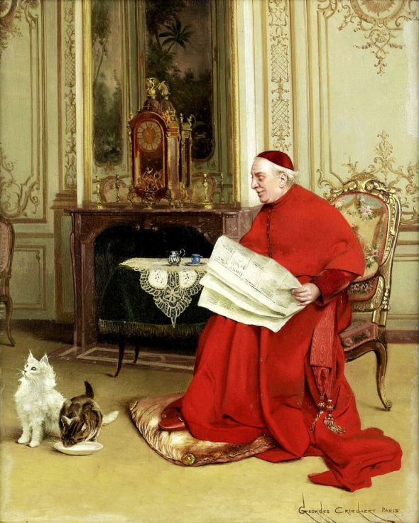 Georges Croegaert Reading the News, art cats