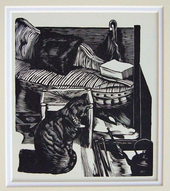 J Nash, cat, wood engraving