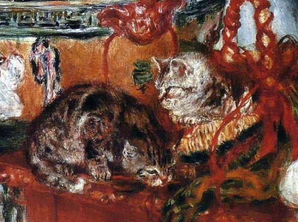 Pierre-Auguste Renois Flowers and Cats, Detail, 1881