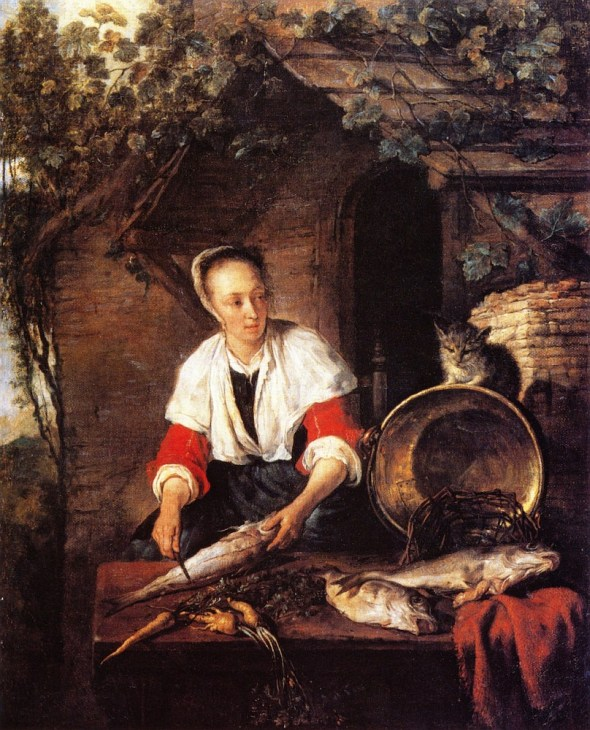 A Woman Cleaning Fish, with a Cat [1656-58]Gabriel Metsu