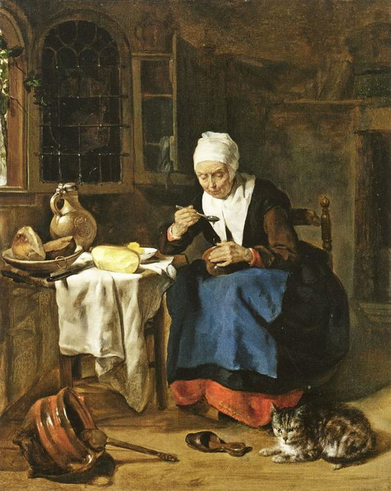 Gabriel Metsu An Old Woman Eating Porridge.