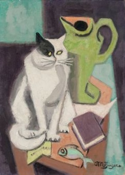 J Metzinger - Still life with cat and fish, 1950.