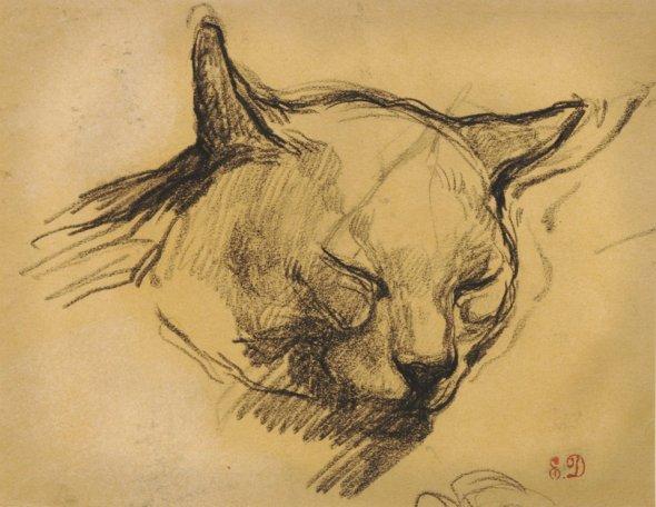 Delacroix Study of a Cat's Head