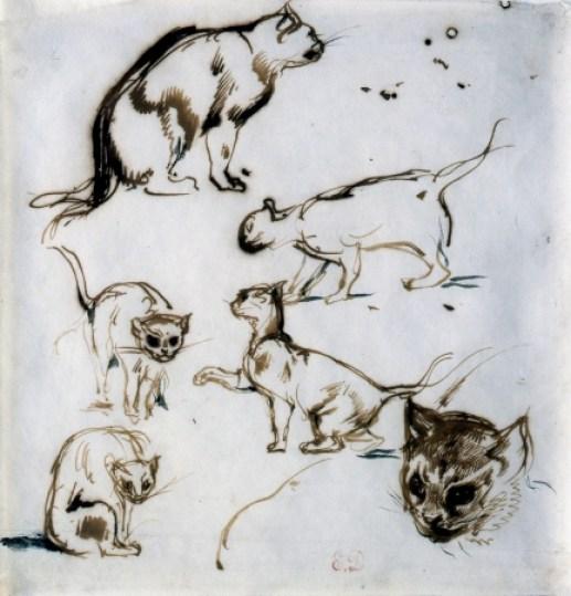 Eugene Delacroix, Six Studies of a Cat