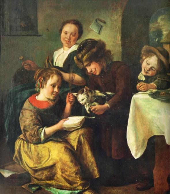 Children Teaching the Cat to Read 1663, Jan Steen