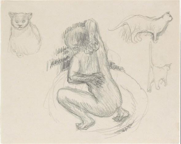Sketch Woman and Cats- P. Bonnard