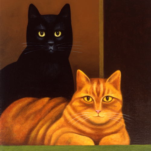 Leaf and Bean, M. Leman, cat paintings, cat art