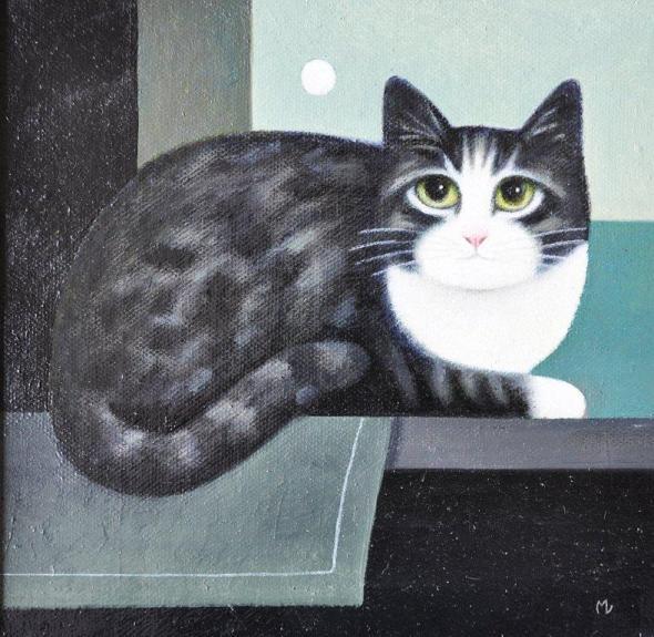 Cat and Moon, M. Leman, cat paintings, cat art