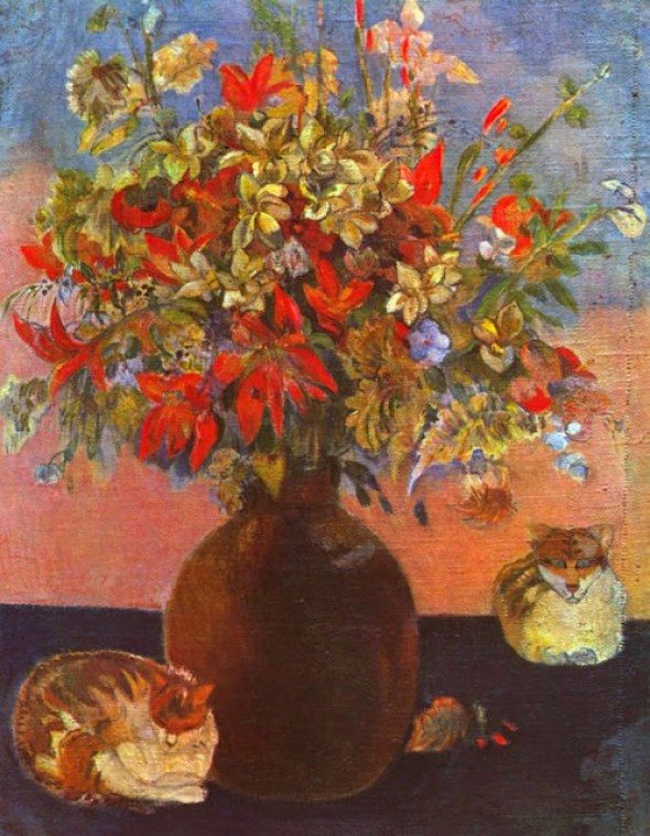 Paul Gauguin (1848-1903) Flowers and Cats