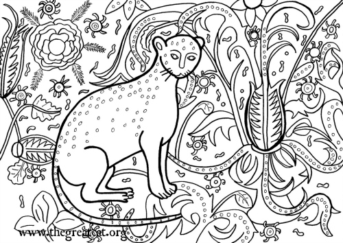Cat 1407 Coloring Book Adult Medieval Cats