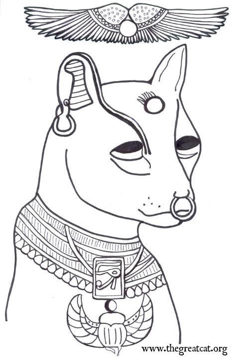 face of bastet with wings above coloring book adult coloring book ancient egyptian - A Coloring Book