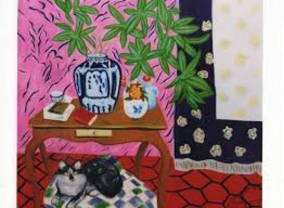 Matisse – vase chinois sur le bureau avec chat dessous, cat in art, cats in art