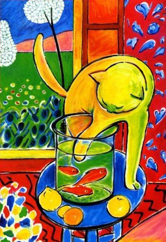Le chat aux poissons rouges - Henri Matisse, cats in art